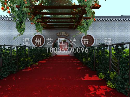 红色廊架手绘效果图